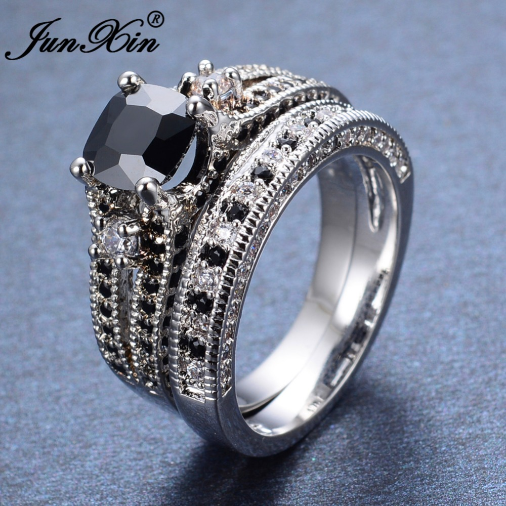 Junxin Luxury Male Female Black Ring 2017 New Fashion White Gold Filled  Jewelry Vintage Party Wedding Rings Bridal Ring Sets