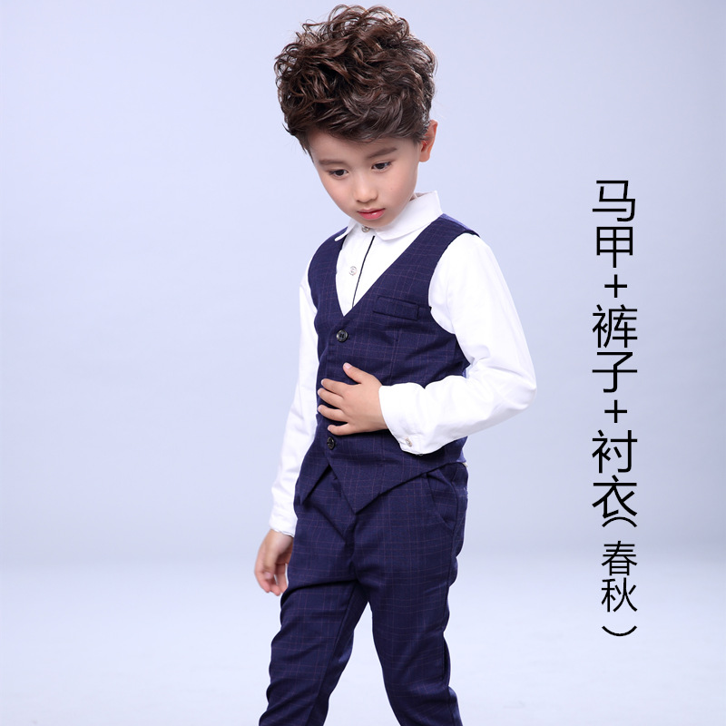 Boys Spring Clothes Sets Children Gentleman Waistcoat + Shirt + Pants 3Pcs Set Boys Formal Suits Wedding Party Clothing H69