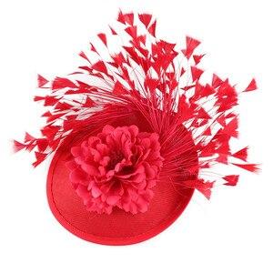 Image 5 - Rouge imitation Sinamay Fascinator chapeaux femmes mariée imitation événement Occasion chapeau pour Kentucky Derby église mariage fête course