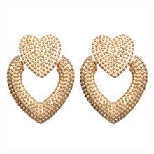 Double Love Heart Earrings for Women Silver Gold Luxury Statement Earings Classic Charm Fashion Jewelry 2019