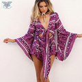 2017 Summer Beach Cover Up Women 2 piece Sets Chiffon Long Sleeve Bikini Covers Print Boho Crop Tops Shorts Two Piece Outfits