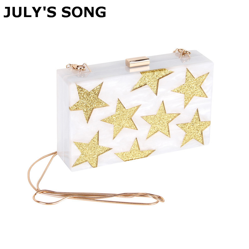 JULY'S SONG Stars White Acrylic Box Evening Clutch Bag Chain Shoulder Handbag Crossbody Hardcase Bag Wedding Party Prom Purse red heart pattern women black acrylic evening bag box clutch wedding party casual chain shoulder crossbody handbag and purse