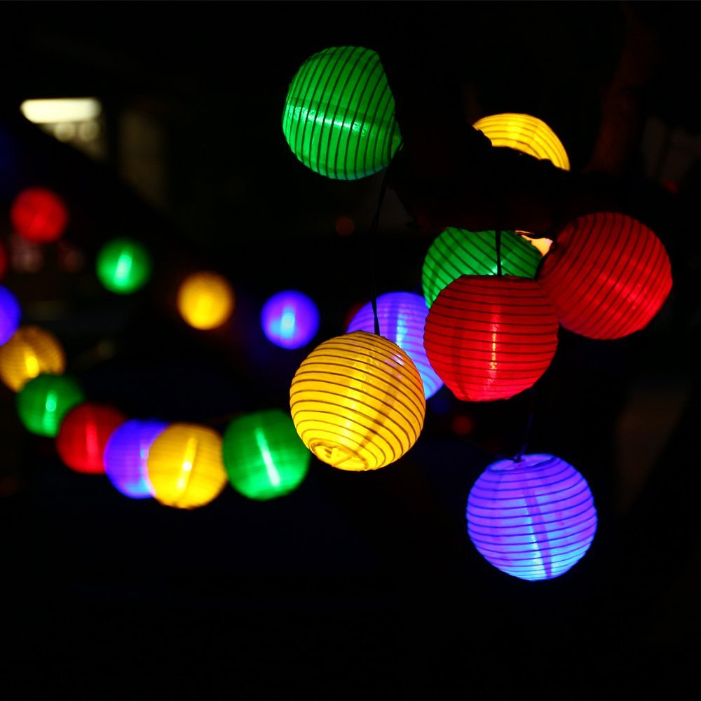Lantern Solar String Lights Outdoor Globe Lights 30LED Warm White/Multi  Color Fabric Ball Christmas