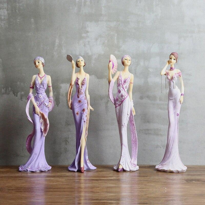 Purple European Elegant Lady Figurines Resin Woman Model Ornaments Home Office Decoration Desktop Crafts Wedding Christmas Gifts