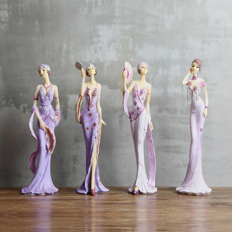 Purple European Elegant Lady Figurines Resin Woman Model Ornaments Home Office Decoration Desktop Crafts Wedding Christmas Gifts