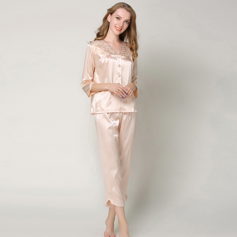 New Autumn Silk Satin   Pajamas     Sets   Women Home Suit Sleepwear Sexy Lace Shirt Pants Pyjamas Plus Size Nightwear Pijama Mujer