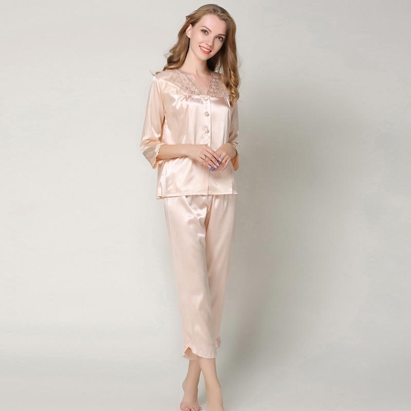 New Autumn Silk Satin   Pajamas     Sets   Women Home Suit Sleepwear Sexy Lace Shirt Pants Pyjamas Plus Size Nightwear Pijama Mujer