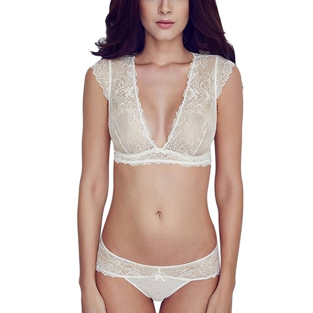 fb1763f376 Women Sexy Embroidery Floral Lace Bras Sheer Thongs Panty Lingerie  Underwear Bra Set