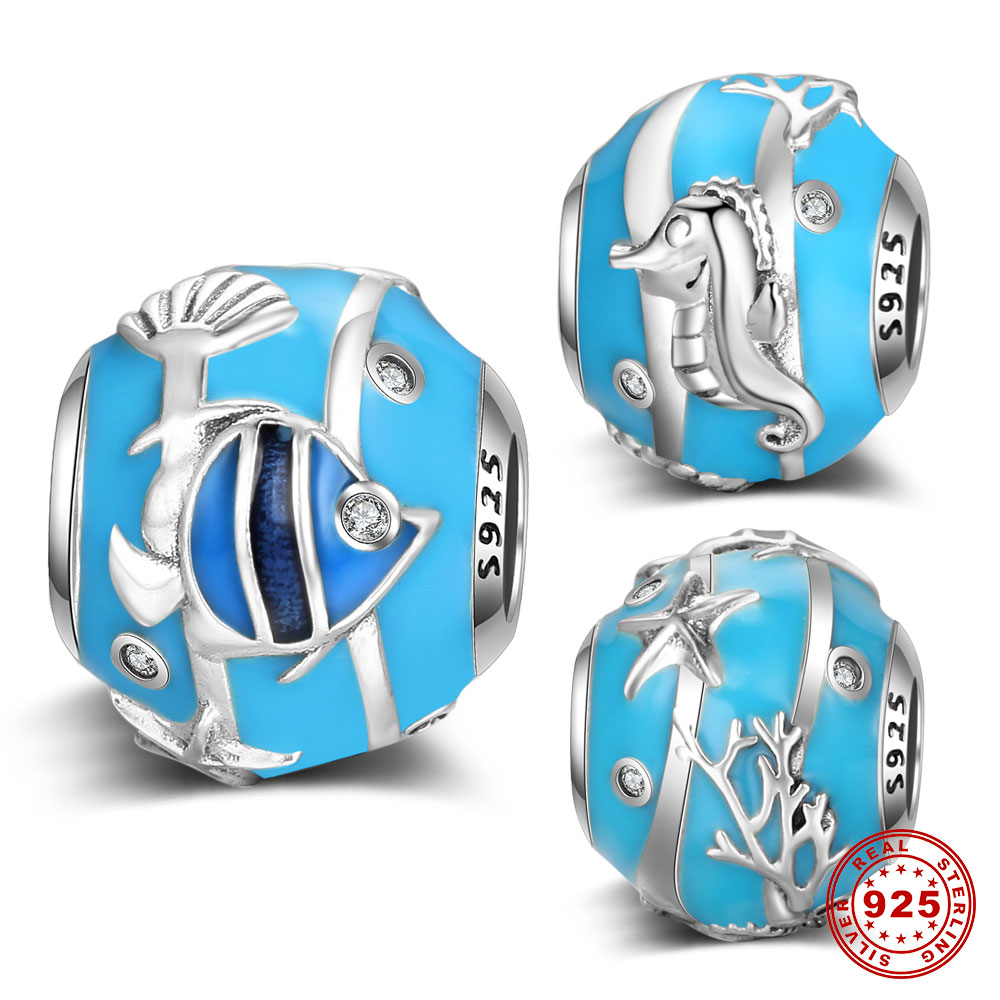 Blue Sea Underwater World DIY Charm Beads 100% 925 Sterling Silver Seahorse Fish Starfish Big Hole Beads Wholesale VNISTAR