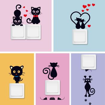 DIY Creative Black cat love Cartoon Removable Switch stickers PVC Wall Sticker Vinyl Decal Home Decor Decal Socket paste dog 56 cute paw heart wall sticker creative cartoon cat dog lover vinyl wall decal home