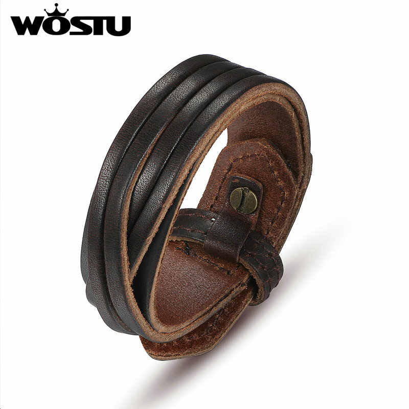 Hot Sale Genuine Leather Wrap Vintage Brown Bracelet & Bangles Friendship Fashion High Quality Jewelry For Men Women XCJ0336