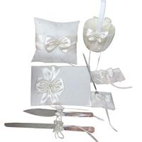 4Pcs/set Ivory white Satin bowknot Wedding Ring Pillow Guest Book Pen Girls Flower Basket set Decoration Bridal Products