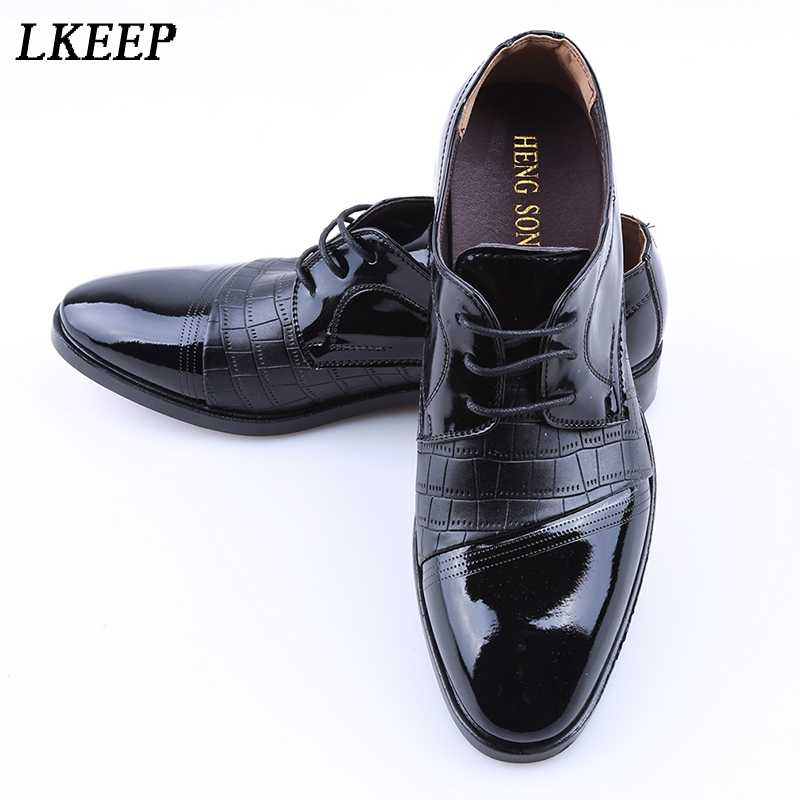 101d890fdbc ... Point Toe Men Dress Shoes Luxury Brand Men s Business Wedding Formal  Shoes Derby Flat Shoes Zapatos ...
