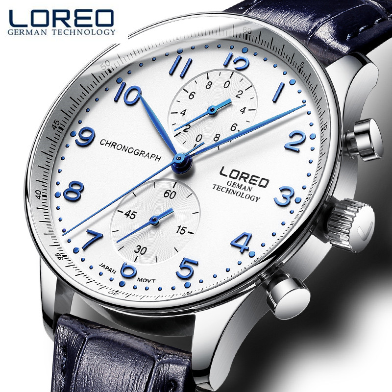LOREO 2017 Ultra-thin Dial Mens Watches Top Brand Luxury Genuine Leather Strap Quartz Watch Men Fashion Relogio Masculino M29