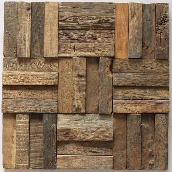 Striscia di mosaico di legno di legno rustico piastrelle for Piastrelle adesive da parete