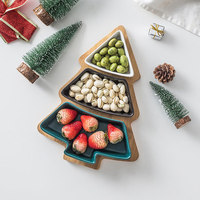 Japanese style Ceramic Fruit Plate Christmas Tree Snack Tray Creative Snack Refreshments Plate Dish Candy Nut Tray