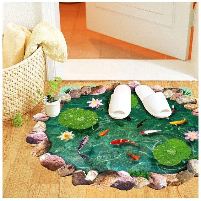 Fischteich Lilypad 3D 4D Boden Wandtattoo Aufkleber Decor Kunst Wandbild Kinder  Badezimmer DIY