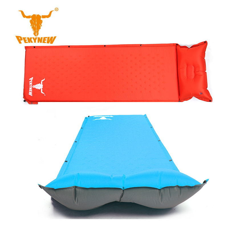 ФОТО PKN-A1006 with pillow automatic inflatable mattress 75D PVC coated polyester pongee 185x60x2.5CM camping mat