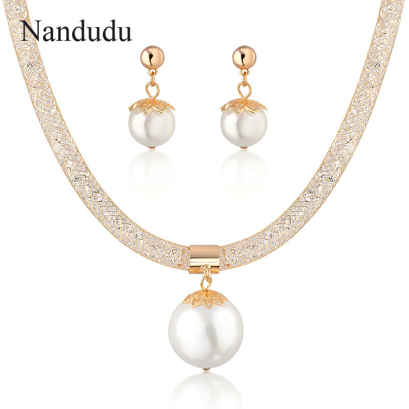 Nandudu Big Faux Pearl Pendant Jewelry Sets Mesh Crystal Earrings Necklace Bridal Jewelry Set Fashion Jewelry Set CN34 teardrop faux crystal pendant necklace
