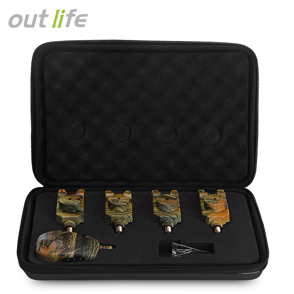 Outlife JY-35 Wireless Remote Camouflage Fishing Bite Alarm Set With Receiver Case 120m LED Alarming Signal Fishing Bite AlarmOutlife JY-35 Wireless Remote Camouflage Fishing Bite Alarm Set With Receiver Case 120m LED Alarming Signal Fishing Bite Alarm