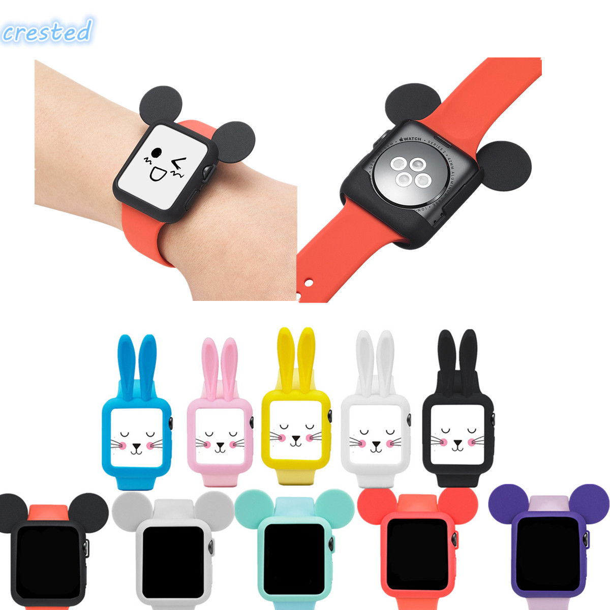 sport silicone watch band & protective case for Apple Watch band 42 mm/38 with cartoon Mouse ears case iWatch 1/2 band