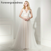 Forevergracedress Cheap High Quality A Line Wedding Dress Crew Neck Sleeveless Lace Tulle Long Bridal Gown