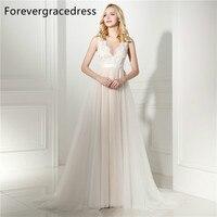 Forevergracedress Barato Alta Qualidade Um Vestido De Noiva Linha Tripulação Pescoço Sem Mangas Lace Tulle Longo vestido de Noiva Plus Size Custom Made