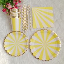 8 Sets Disposable Tableware Foil Gold with Yellow Stripe Paper Plates Cups Napkins Straws for Birthday Baby Shower Bridal