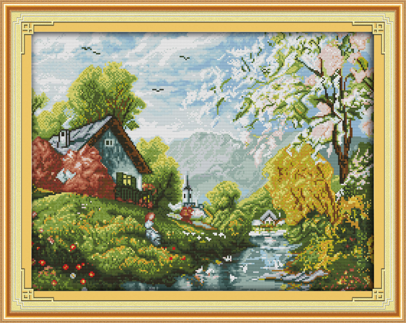 Beautiful river and sky Counted Cross Stitch 11CT Printed 14CT Set DIY Chinese Cotton Cross-stitch Kit Embroidery Needlework
