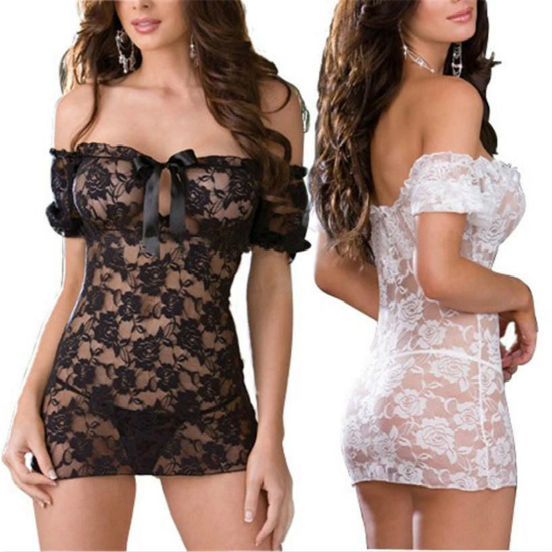 Free size Sexy Lingerie black white Lace Lingerie Sexy Tight temptation perspective pajamas with T pants