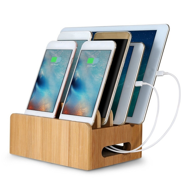 Bamboo Multi Device Charging Dock Stand Mount Holder Organizer For Tablet Phone New Desktop