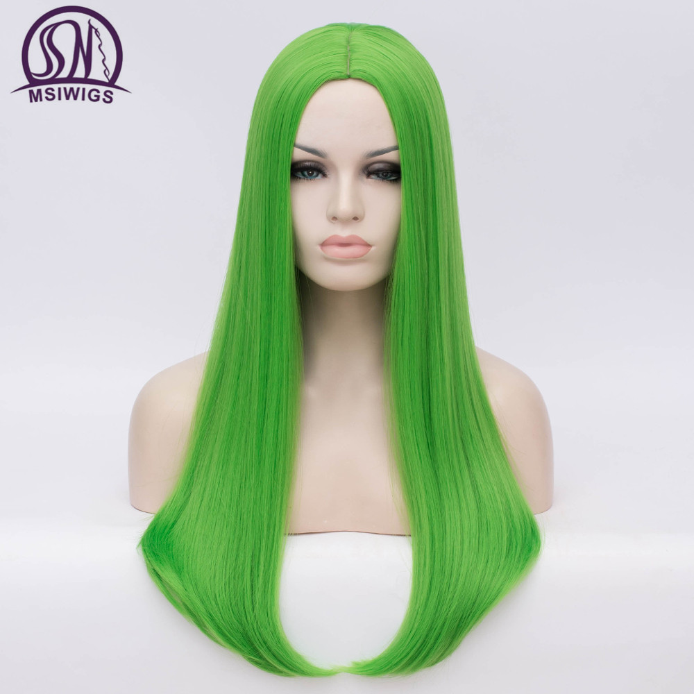 Image 4 - MSIWIGS Wavy Synthetic Wigs for White Black Women Long Green Wig Cosplay Heat Resistant Rose Net Natural Hair with Bangs-in Synthetic None-Lace  Wigs from Hair Extensions & Wigs