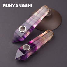 Purple Fluorite Smoking Pipe Natural Stones and Minerals with Strainer 1 Pc Smoke Runyangshi YZ02