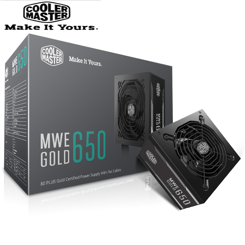Cooler Master PC PSU Computer Power Supply Rated 650W 650 Watt 12cm Fan 12V ATX PC Power Supply GOLD 80PLUS For Game Office