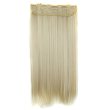 MSIWIGS Straight Long Hair Extension 5 Clips in Hair Extensions 24 Inch Synthetic Hair Blonde False Hair 613#