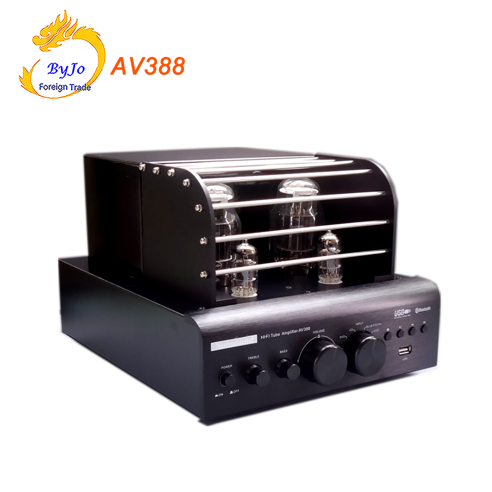 AV388 Bluetooth Vacuum Tube Stereo audio Amplifier 35w + 35w USB MP3 Play BASS Audio output 2.1 Tube amp modern pendant lights for children kids room bedroom lighting suspension luminaire basketball e27 bulb lamp led pendant light