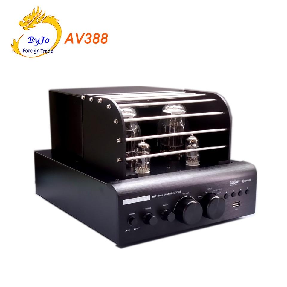 AV388 Bluetooth Vacuum Tube Stereo audio Amplifier 35w + 35w USB MP3 Play BASS Audio output 2.1 Tube amp накладной светильник lightstar zucche 820620