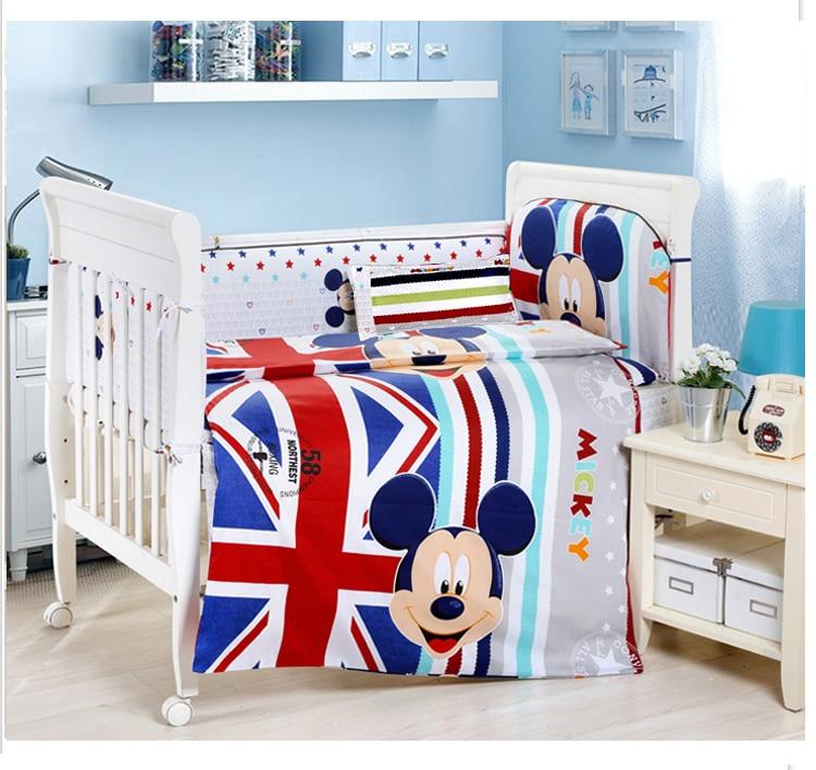 Promotion! 9PCS crib bedding set 100% cotton baby bedding piece set unpick and wash,4bumper/sheet/pillow/duvet