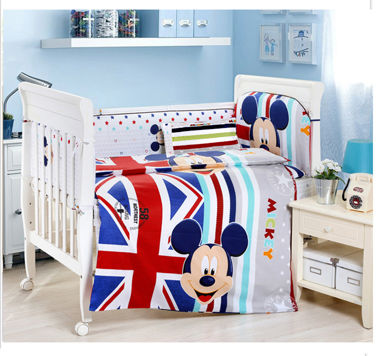 Promotion! 9PCS crib bedding set 100% cotton baby bedding piece set unpick and wash,4bumper/sheet/pillow/duvet