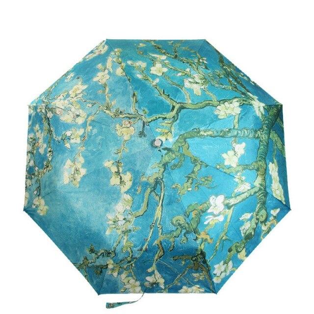 Vincent Van Gogh Umbrella Almond Blossom Oil Painting 8 Rib Wind Resistant Frame For Women Portable Three Folding Art Umbrella
