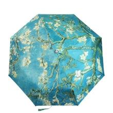 Vincent Van Gogh şemsiye badem çiçeği yağlıboya resim 8 kaburga rüzgara dayanıklı çerçeve kadınlar için taşınabilir üç katlanır sanat şemsiye