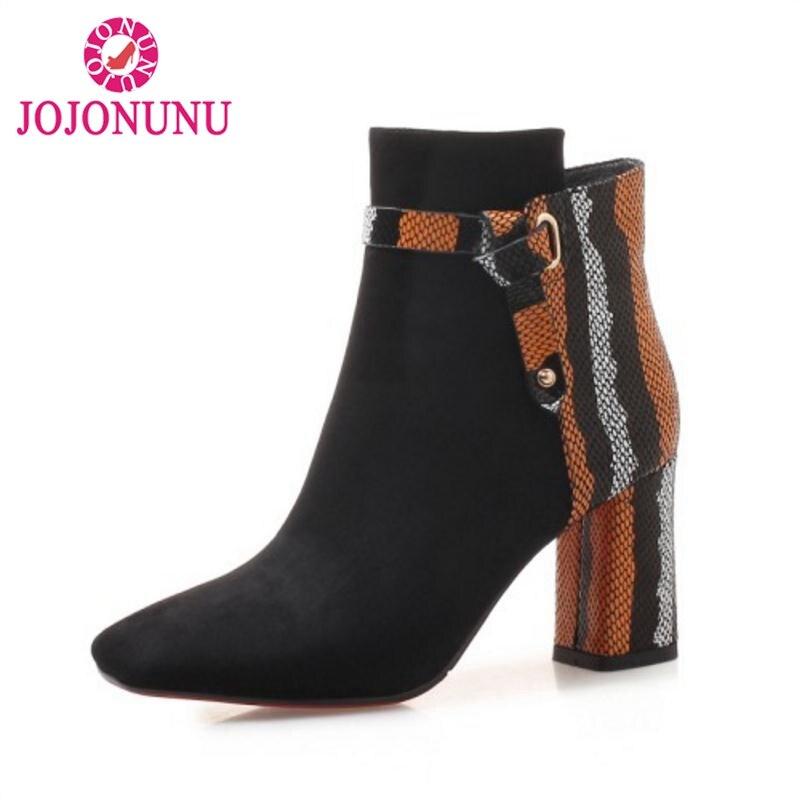 Bottes Chaussures Sexy Courtes Mode Noir Jojonunu Mixte Taille 39 De En Cuir Véritable Femme D'hiver Couleur 34 Cheville Patchwork AxwRqfB4