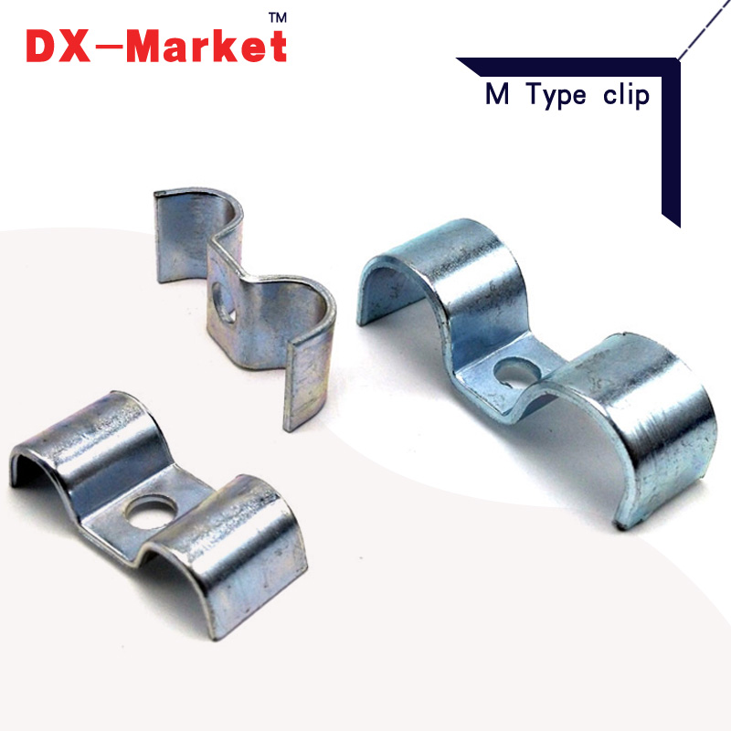 6mm-32mm , Double tube fixing clamp , carbon steel double clip clamps , M Type clamp cable clips 35mm 110mm 304 stainless steel saddle clamp antirust cable clip water pipe fixing bracket clamp