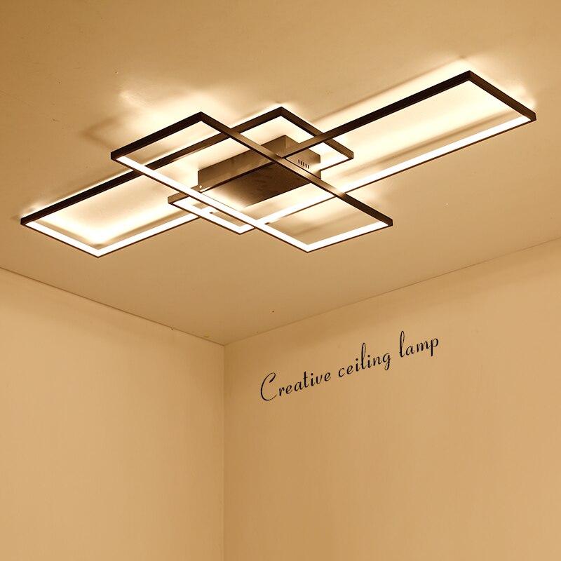 NEO Lueur Rectangle En Aluminium plafond moderne à leds lumières pour salon chambre AC85-265V Blanc/Noir plafonnier Luminaires