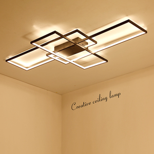 Image 2 - Neo gleam luminária led retangular de alumínio, moderna, para sala de estar, quarto, AC85 265V branco/preto, luminárias para teto