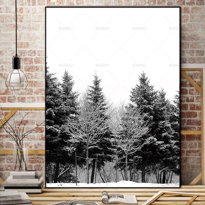 Skandinavia Musim Dingin Salju Hutan Pohon Nordic Abstrak Gambar - Dekorasi rumah - Foto 2