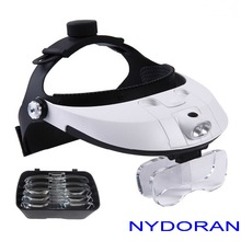 Headband Magnifying Glass Eye Repair Magnifier LED Light  Helmet Style Illuminated Loupe With 5 Replaceable lens