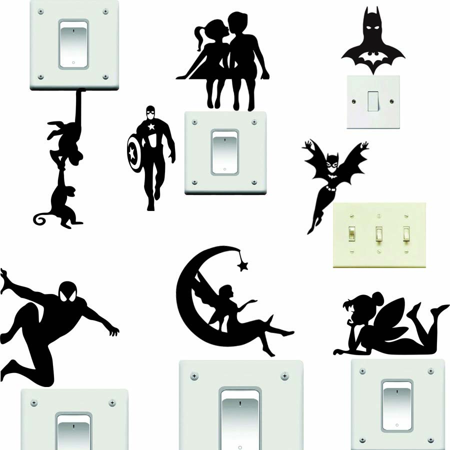 Black Vinyl Switch Sticker Cute Monkey Fairy Batman Wall Decal Diy Removble Wallpaper For Children's Rooms Home Decoration