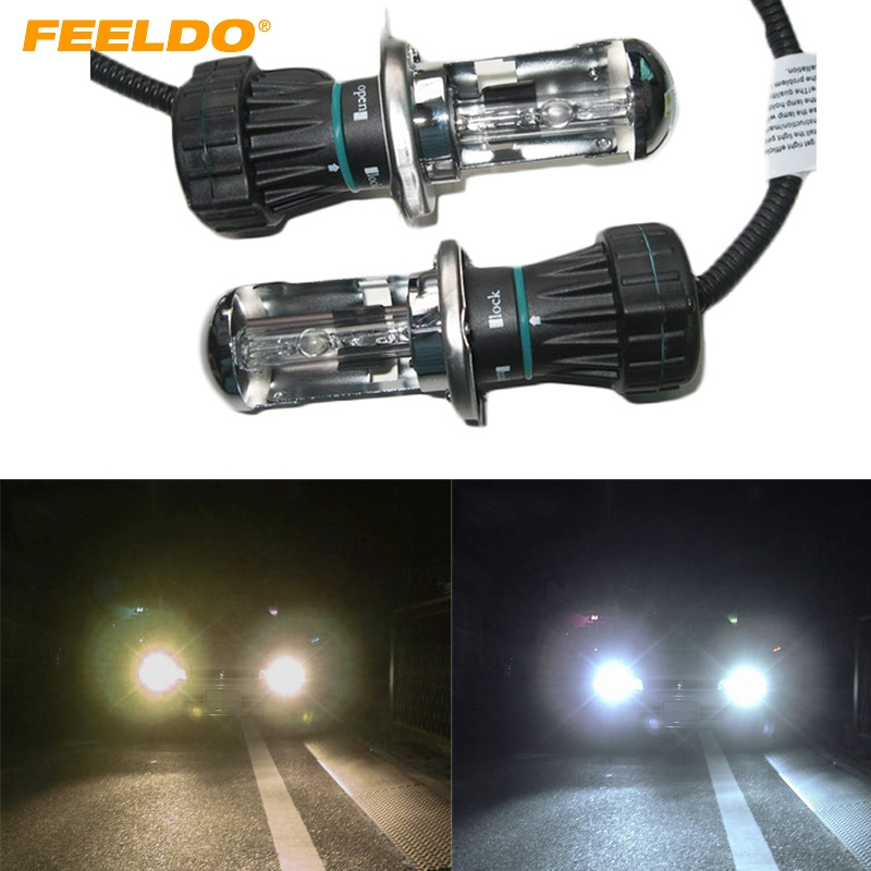 FEELDO 4Pair 35W HID Bi-Xenon H4/9003 Hi/Lo Beam HID Replacement Bulbs 4300K-12000K #AM1864