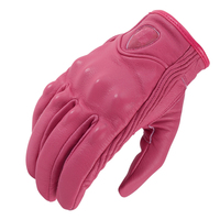 Pink Motorcycle Gloves Woman Leather Motocross Gloves Summer Perforated Cycling Racing Luvas Full Finger Motorbike Moto